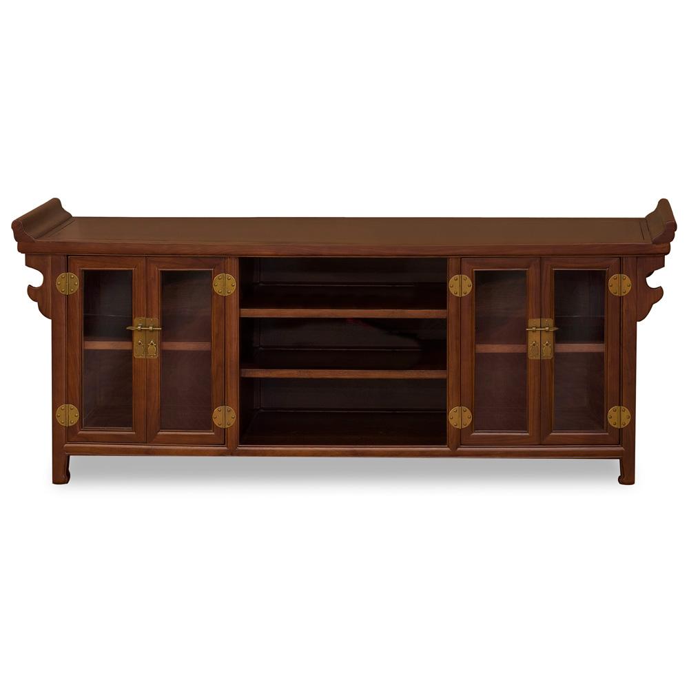 Mahogany Finish Elmwood Asian Altar Media Cabinet