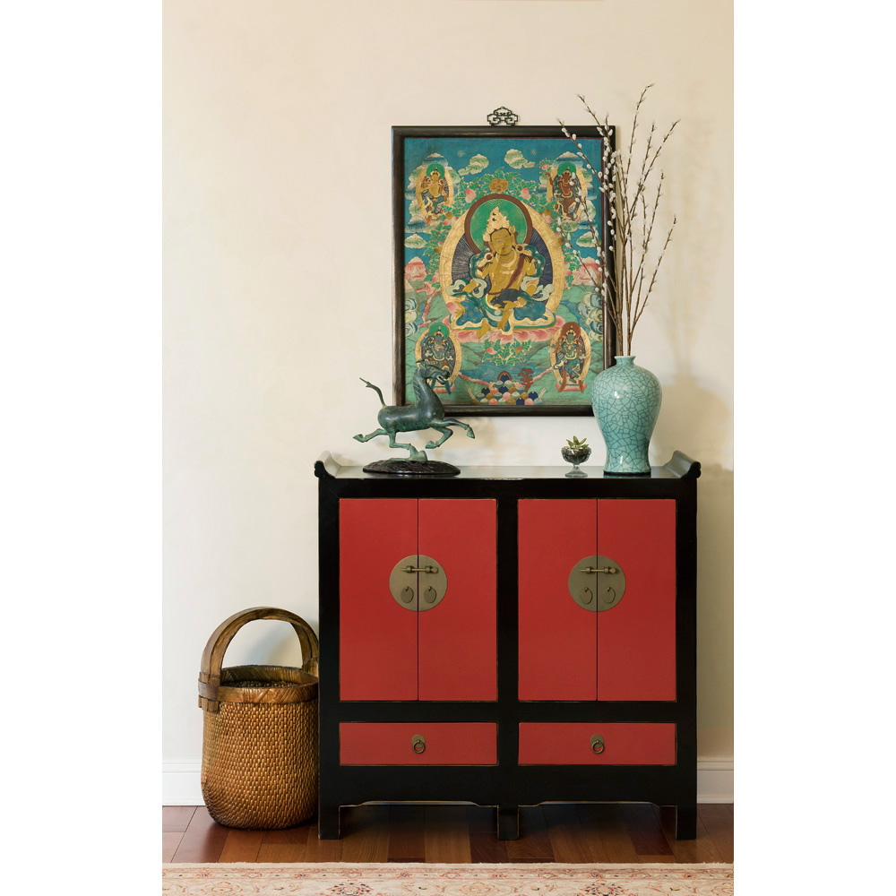 Elmwood Altar Style Ming Cabinet