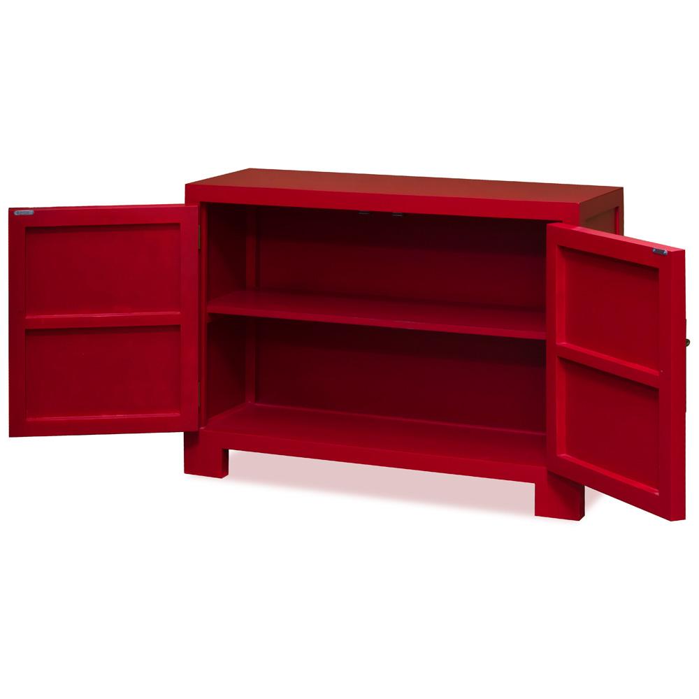 Matte Red Elmwood Chinese Ming Vanity Cabinet