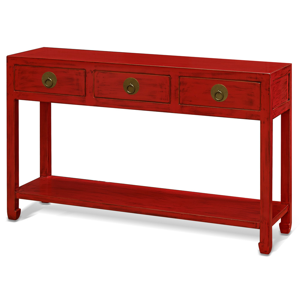 Distressed Red Elmwood Ming Console Table  with 3 Drawers and Shelf