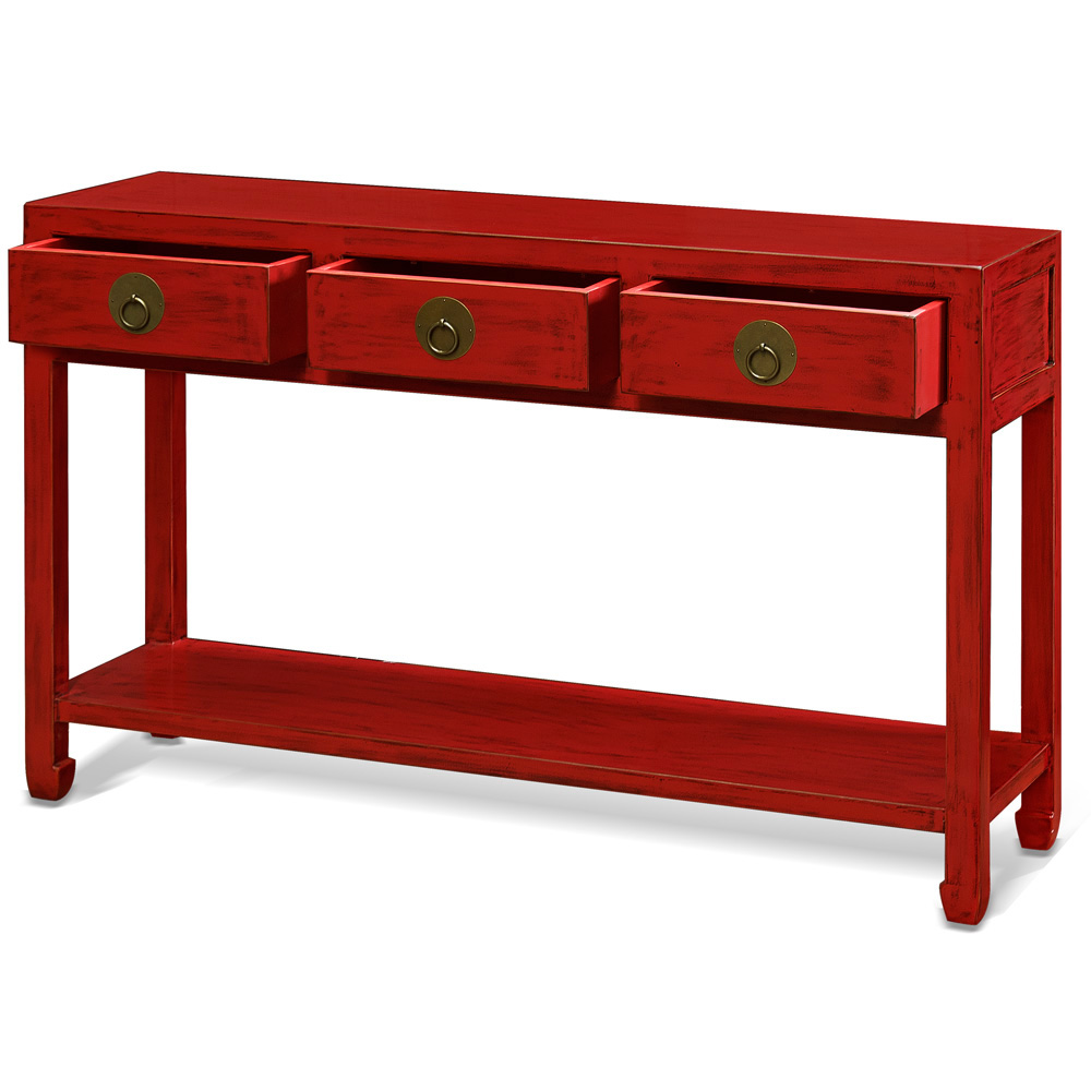 Distressed Red Elmwood Chinese Ming Console Table  with 3 Drawers and Shelf
