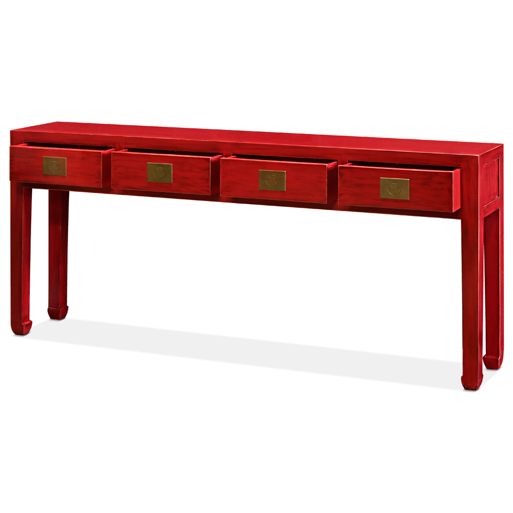 Distressed Red Grand Elmwood Chinese Ming Console Table with 4 Drawers