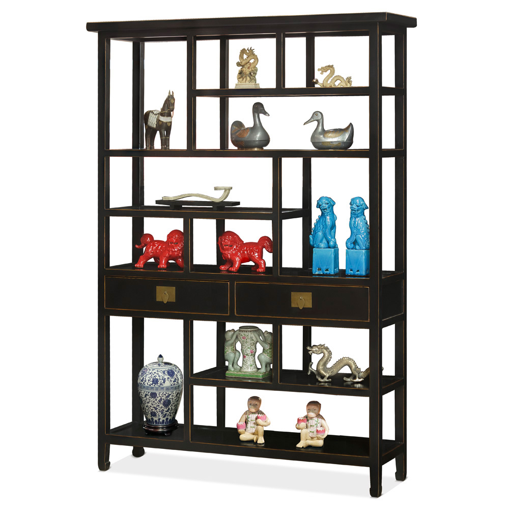 Distressed Black Elmwood Asian Curio Display Bookshelf