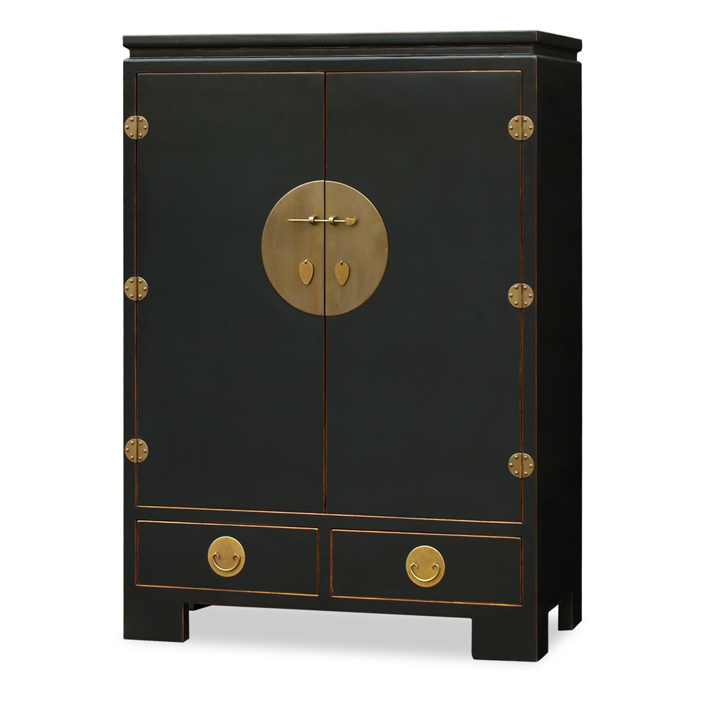 Distressed Black Elmwood Ming TV Armoire