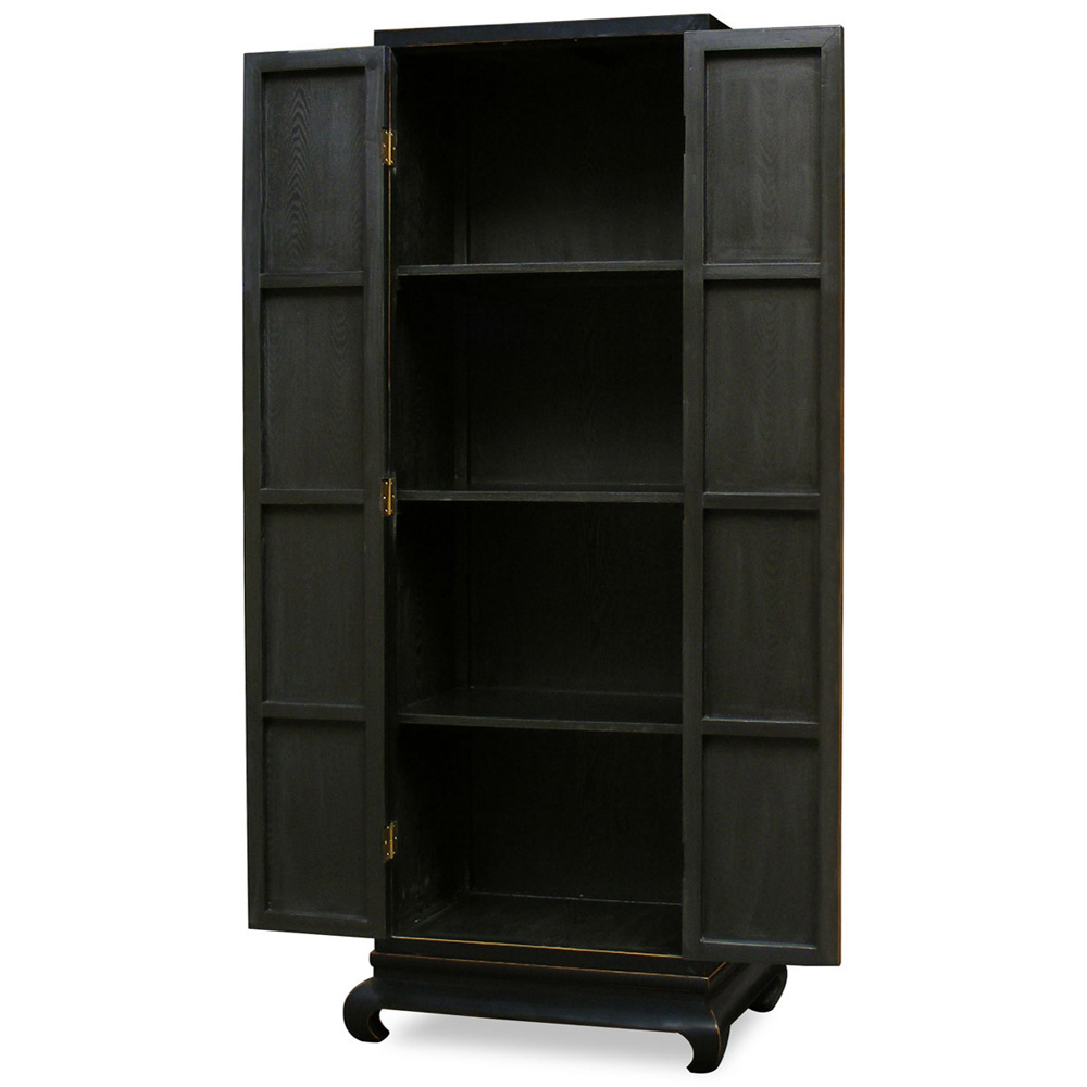 Tall Distressed Black Elmwood Chinese Ming Armoire