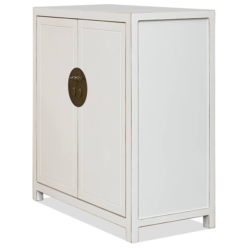 White Lacquer Elmwood Chinese Ming Armoire