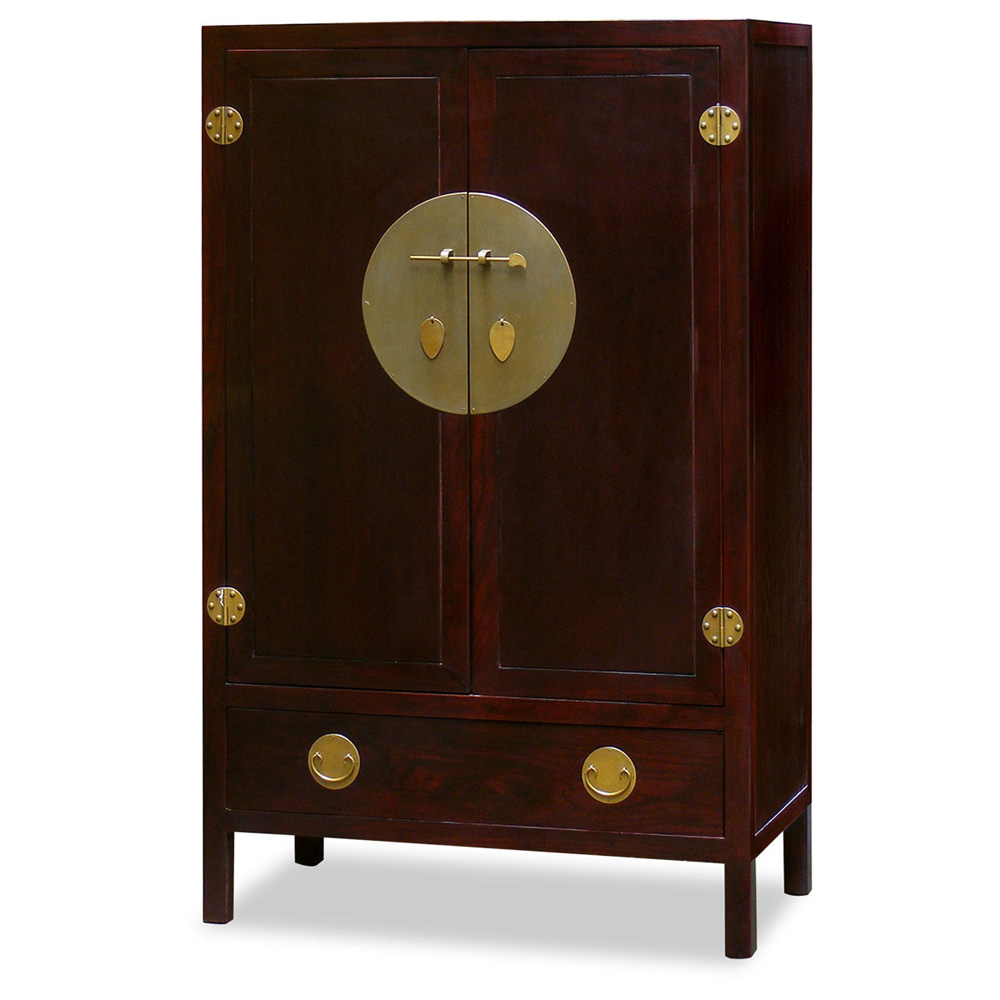 Dark Cherry Elmwood Chinese Ming TV Armoire