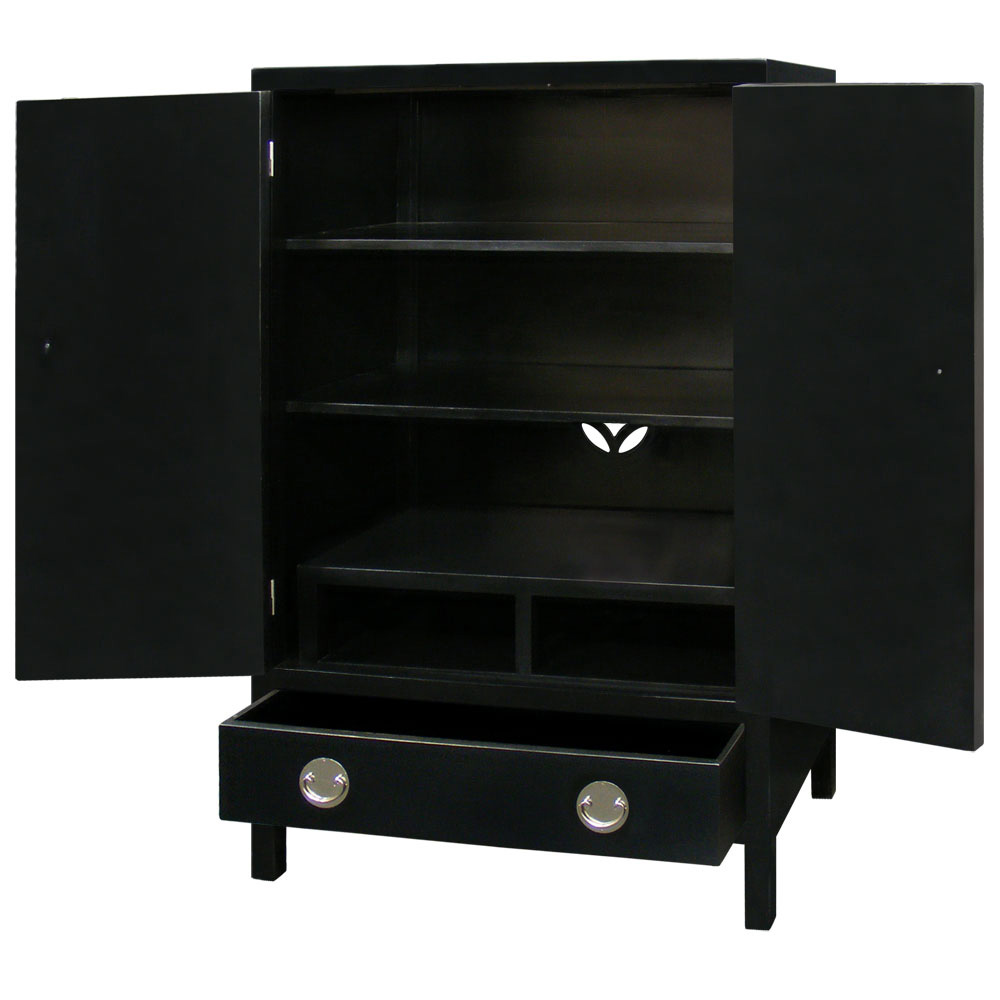 Matte Black Elmwood Ming TV Armoire