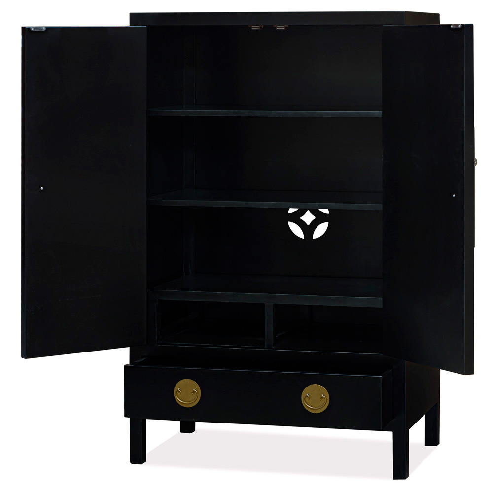 Matte Black Elmwood Chinese Ming Armoire