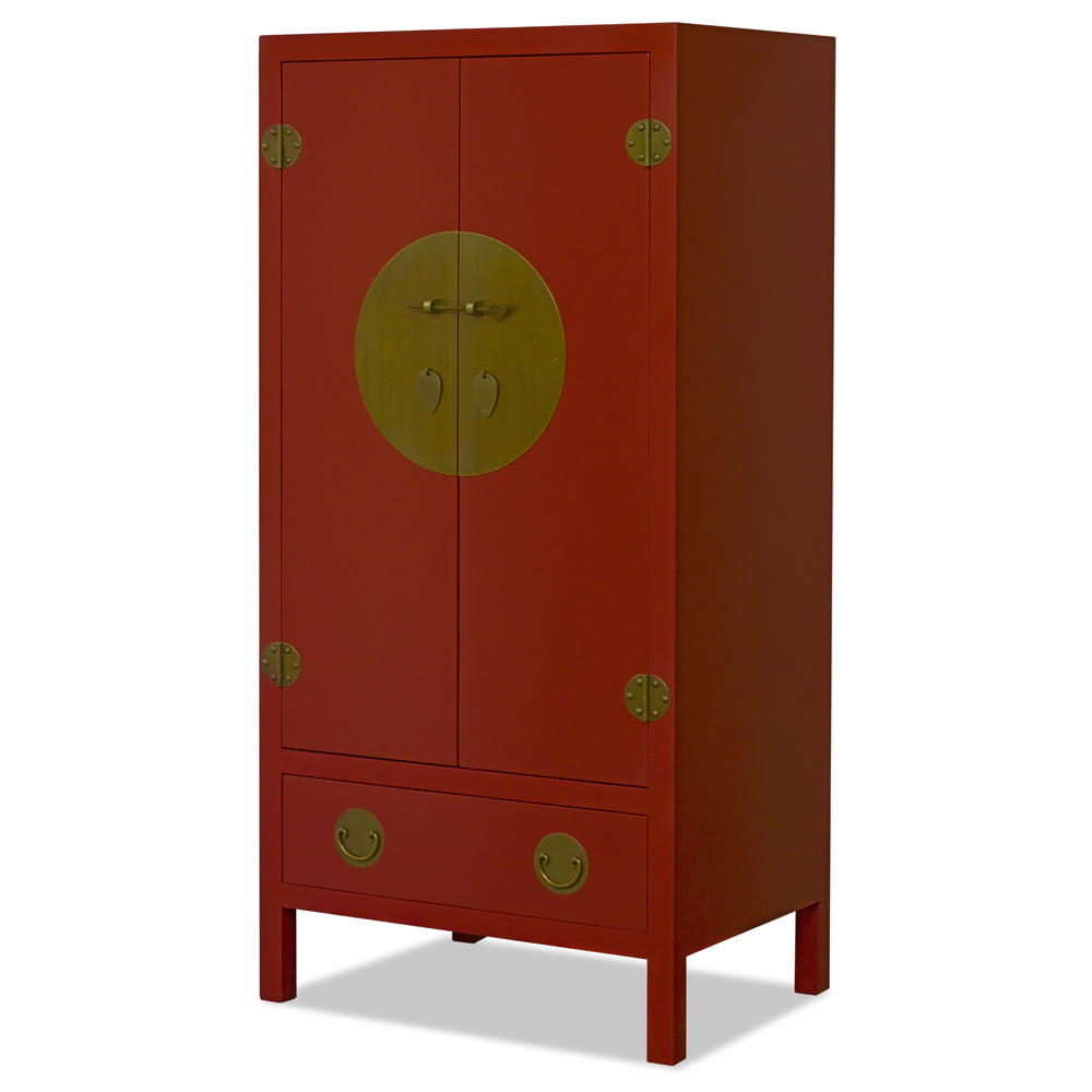 Red Elmwood Chinese Ming TV Armoire