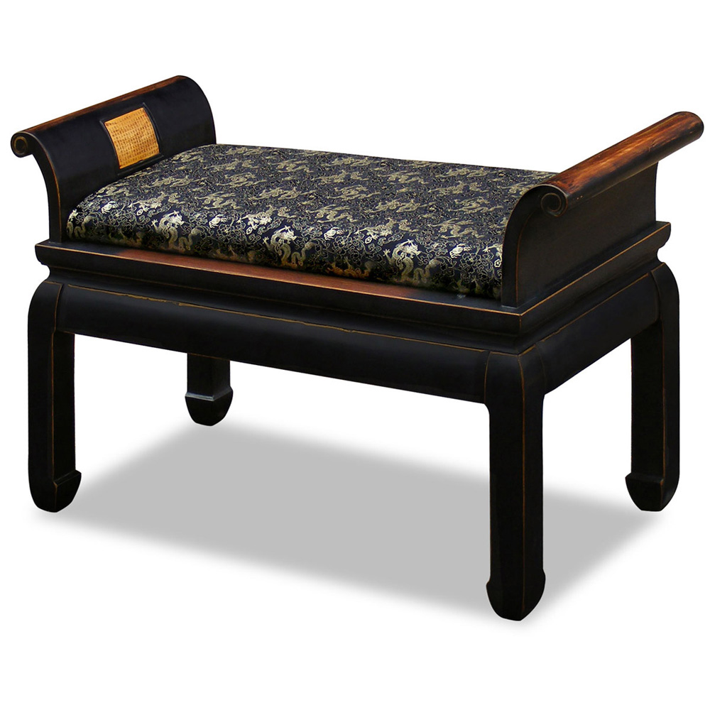 Distressed Black Petite Elmwood Zhou Yi Asian Bench