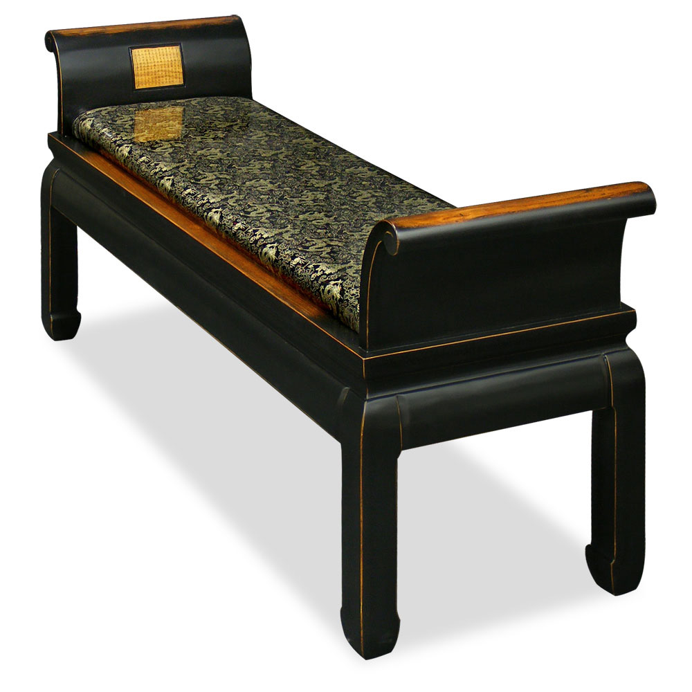 Distressed Black Elmwood Zhou Yi Asian Bench