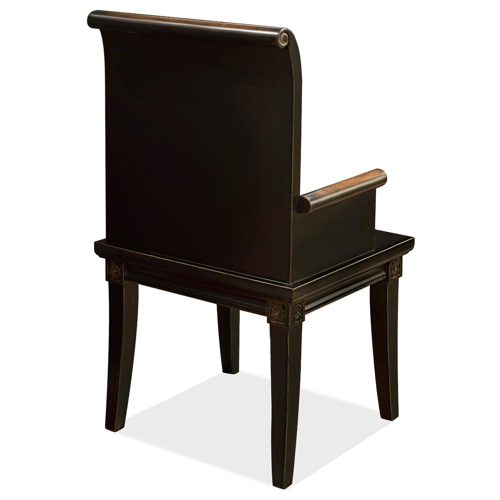 Distressed Black Elmwood Zhou Yi Asian Arm Chair