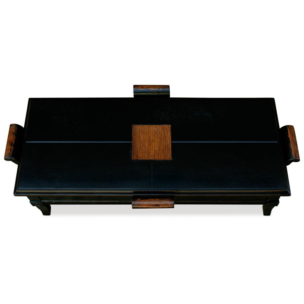 Distressed Black Elmwood Zhou Yi Rectangular Asian Coffee Table