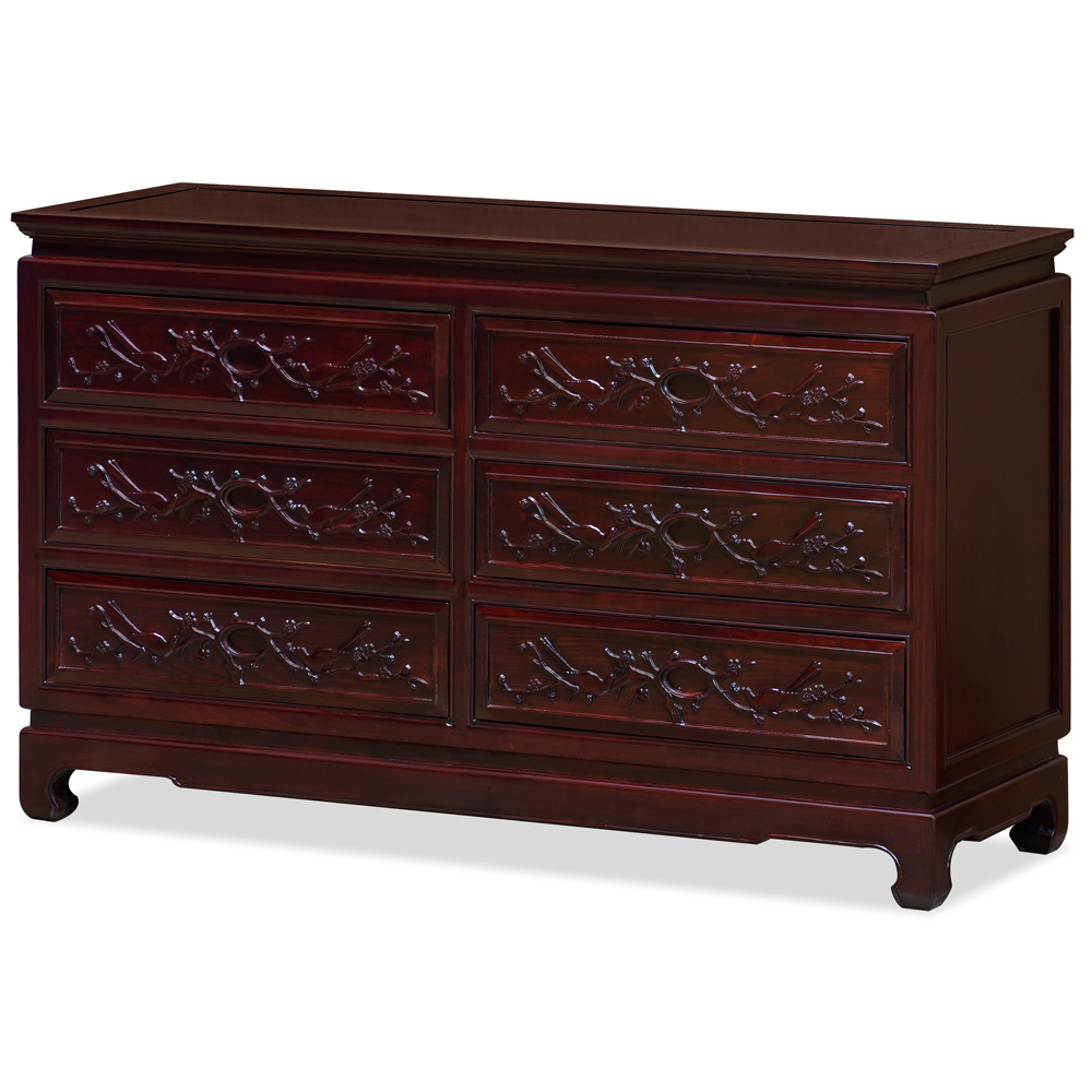 Dark Cherry Elmwood Flower and Bird Motif Oriental Chest of Drawers