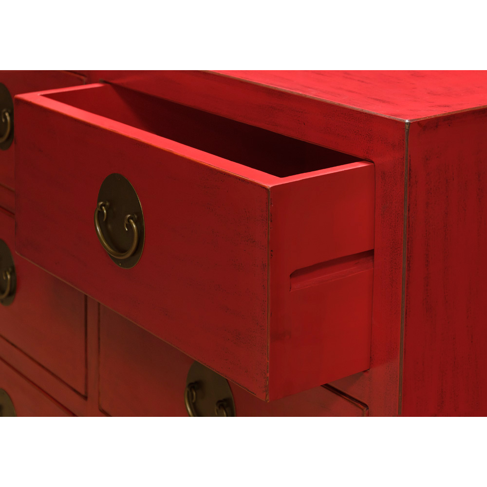 Red Elmwood Chinese Ming Chest of 9 Drawers