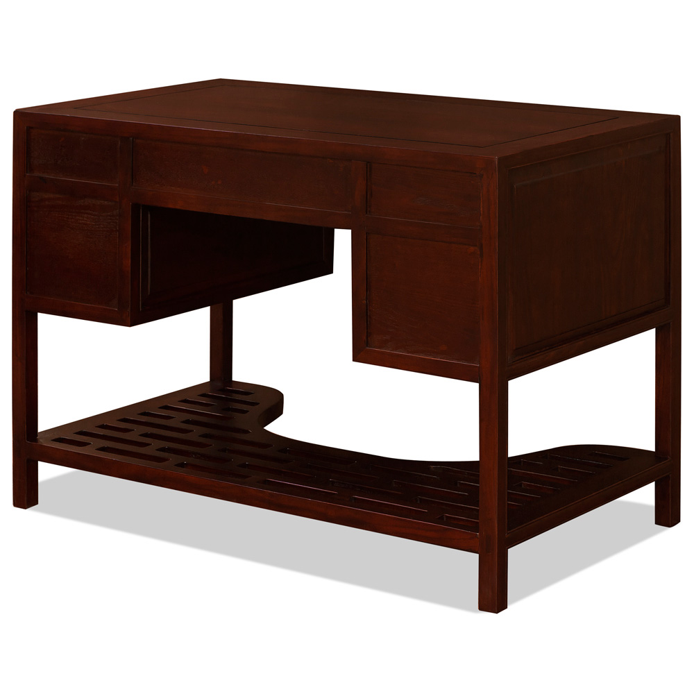Dark Cherry Elmwood Chinese Ming Desk with 5 Drawers
