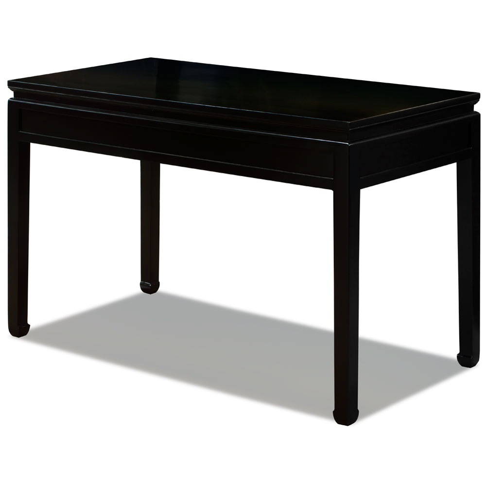 Matte Black Elmwood Chinese Longevity Desk with 3 Drawers