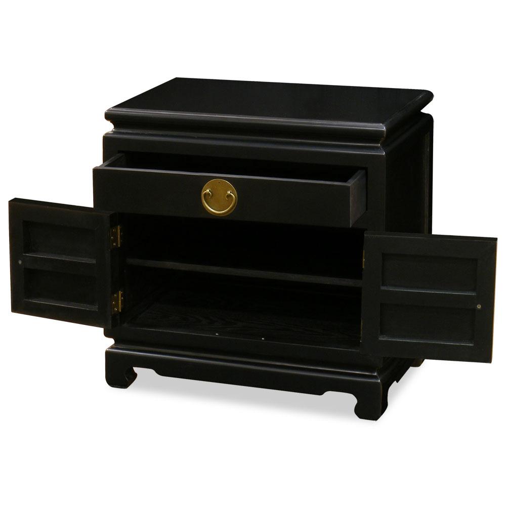 Matte Black Petite Elmwood Chinese Ming Cabinet