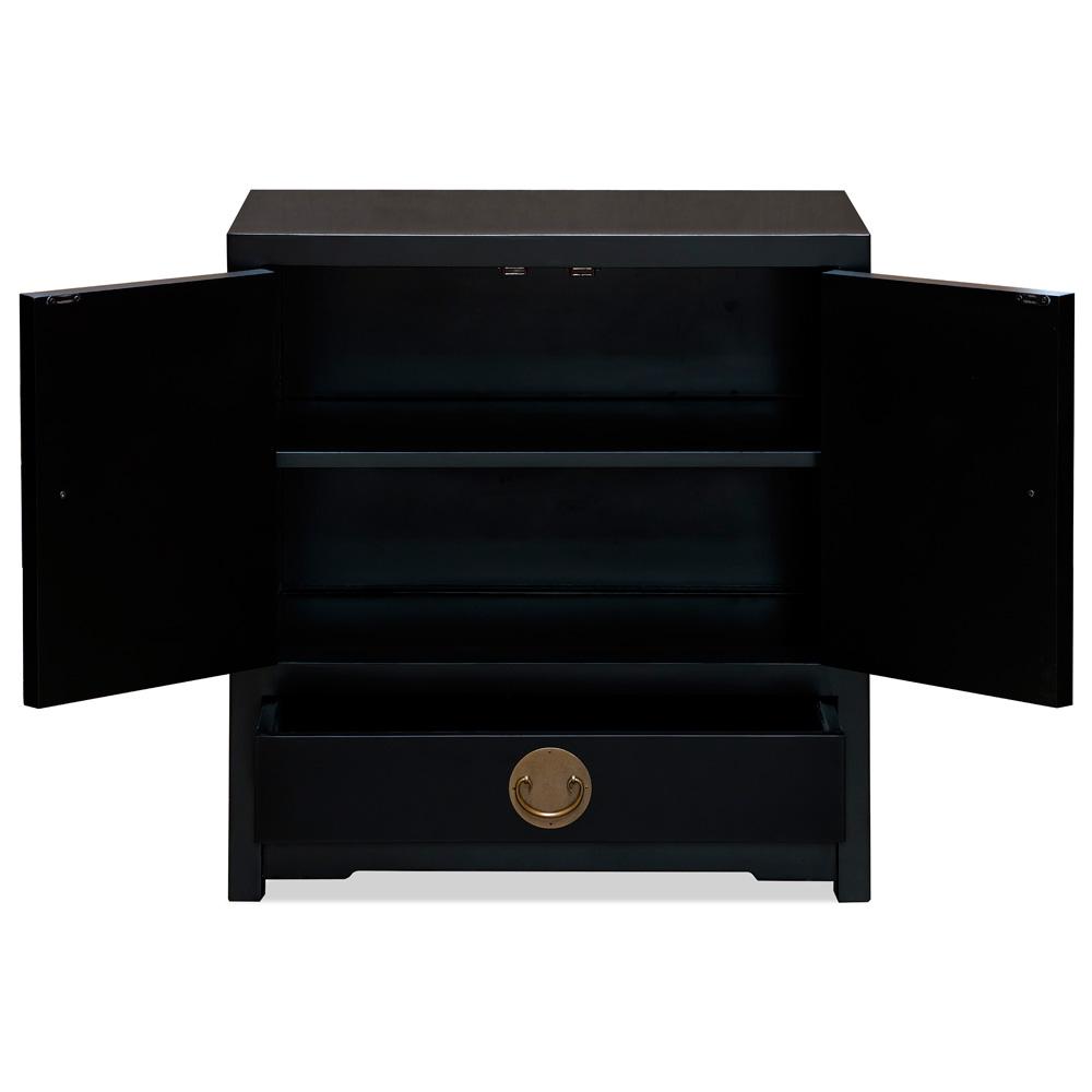 Matte Black Elmwood Chinese Ming Vanity Cabinet
