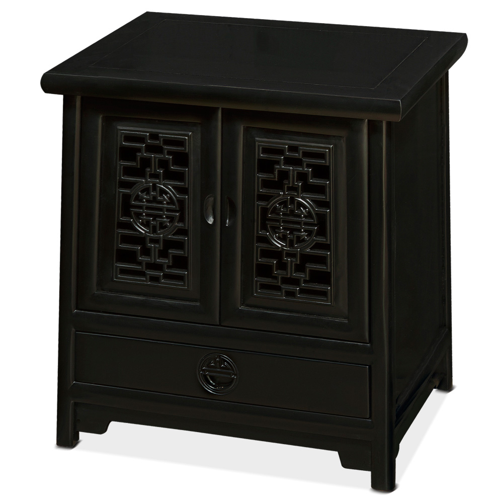 Black Petite Elmwood Ming Cabinet with Lattice Doors