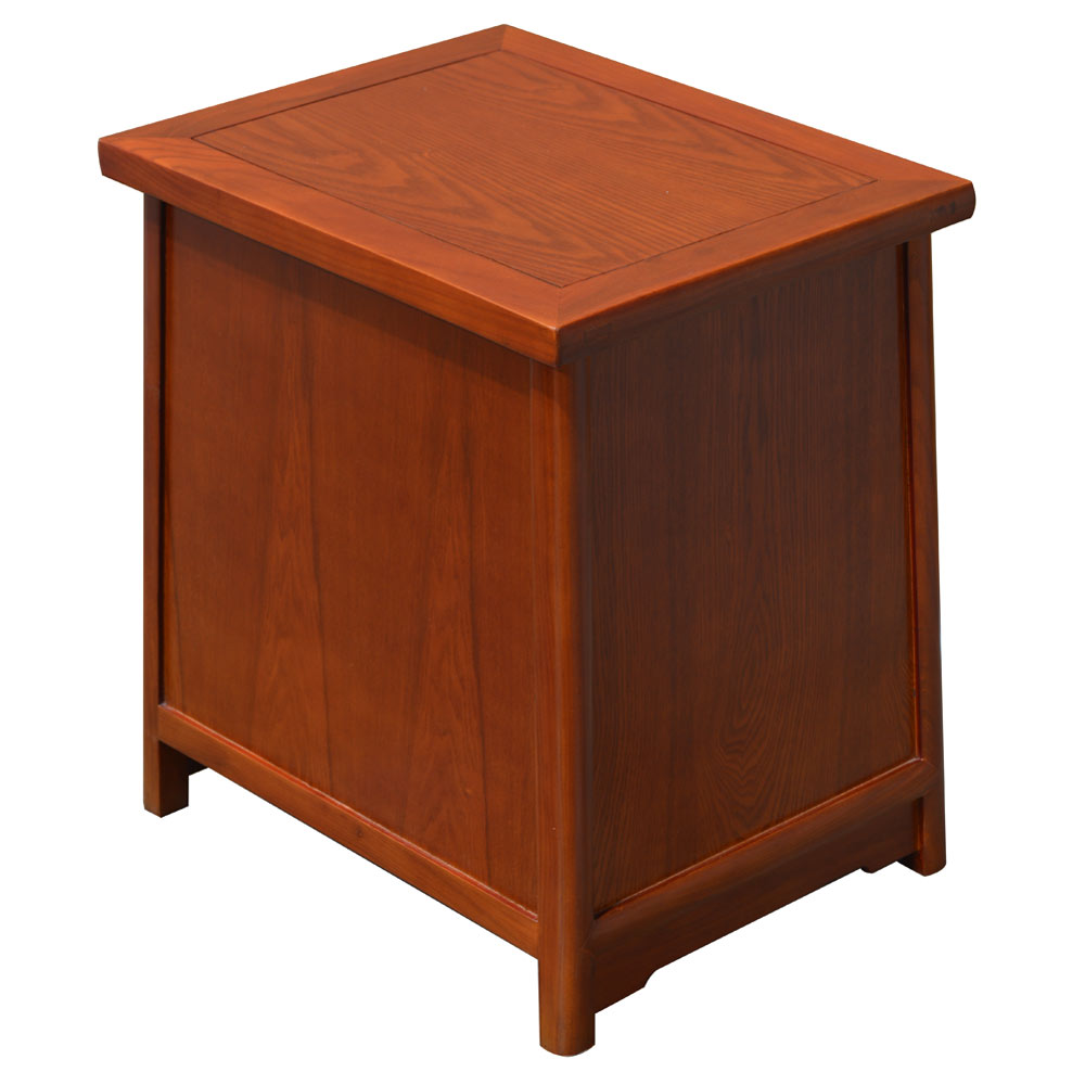 Walnut Finish Petite Elmwood Chinese Ming Cabinet with Lattice Doors