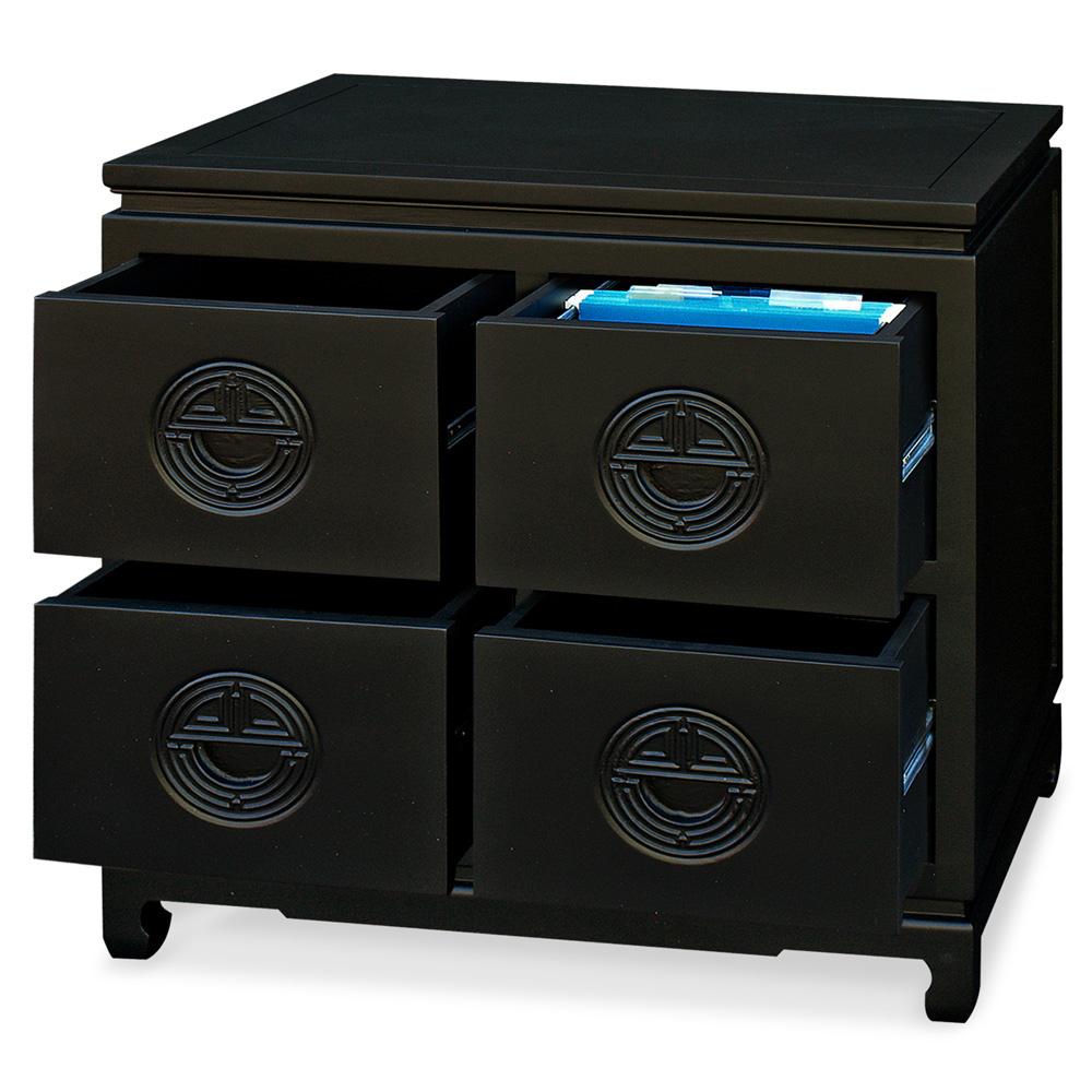 Black Elmwood Chinese Longevity Design 4 Drawer File Cabinet
