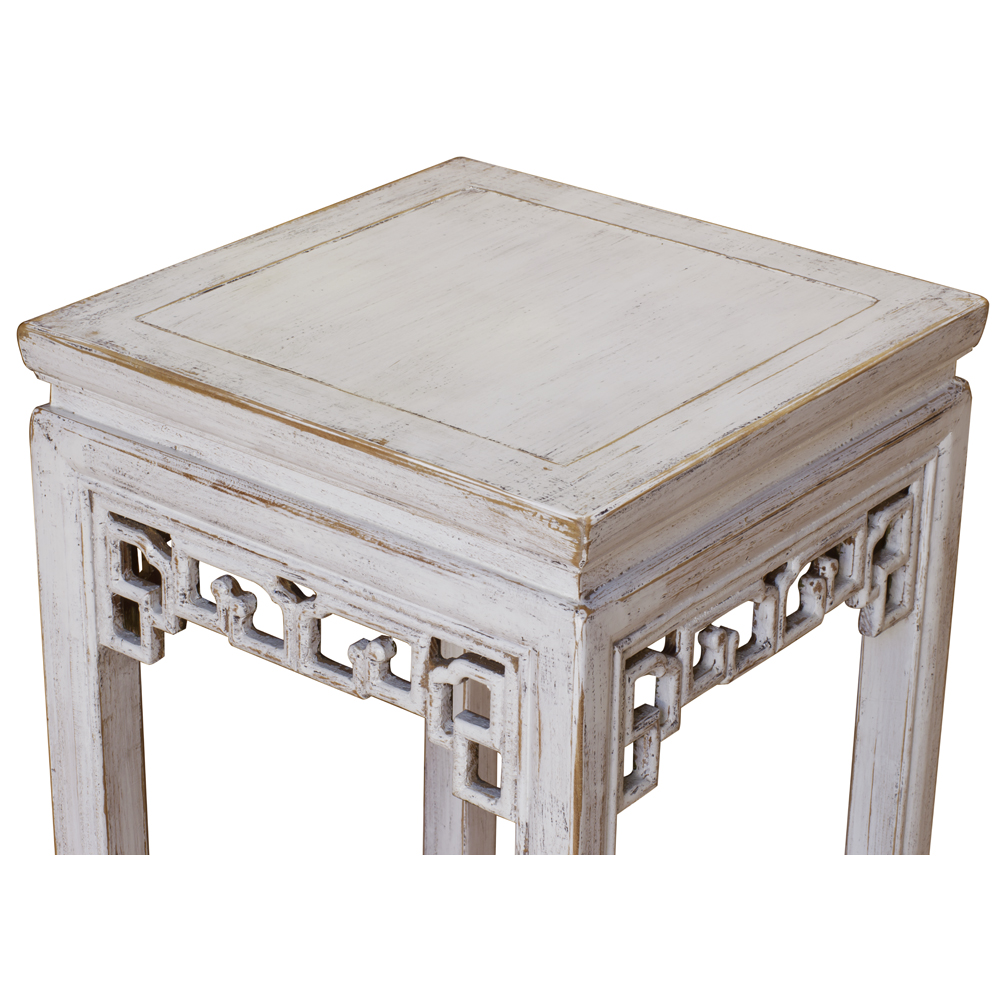 Distressed White Elmwood Asian Pedestal