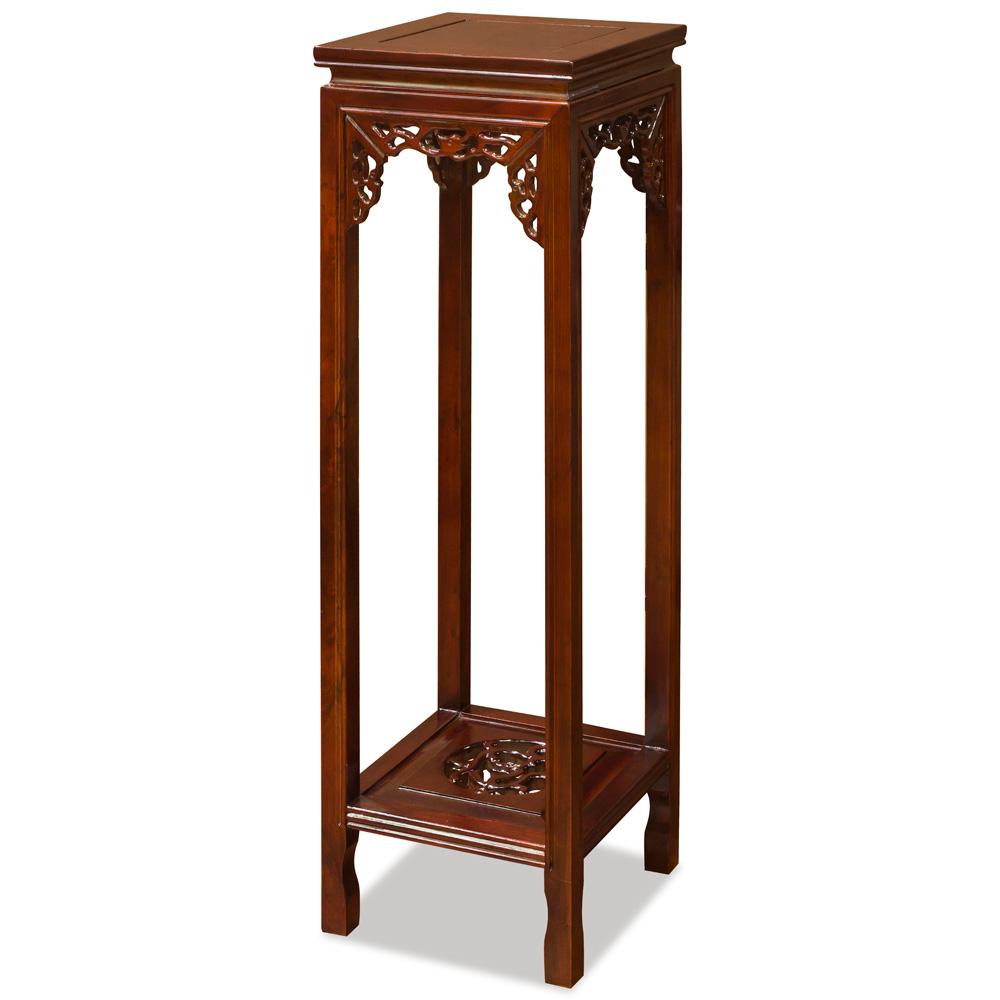 39 Inch Mahogany Finish Elmwood Dragon Motif Asian Pedestal