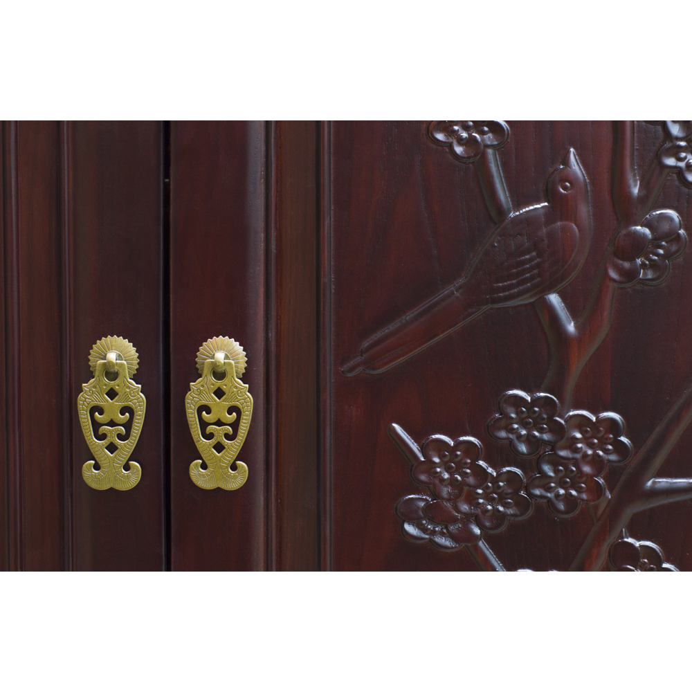 Dark Cherry Elmwood Bird and Flower Motif Oriental Armoire