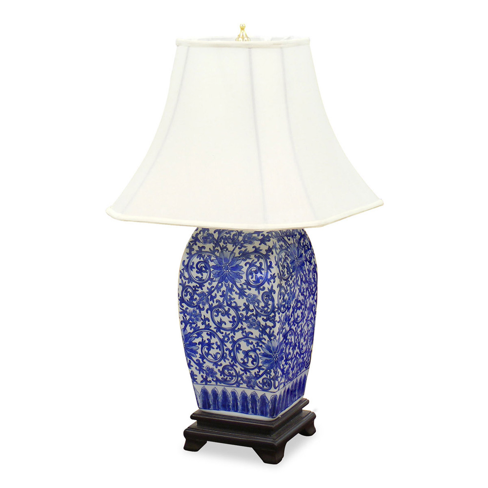 blue and white porcelain lamp. Black Bedroom Furniture Sets. Home Design Ideas