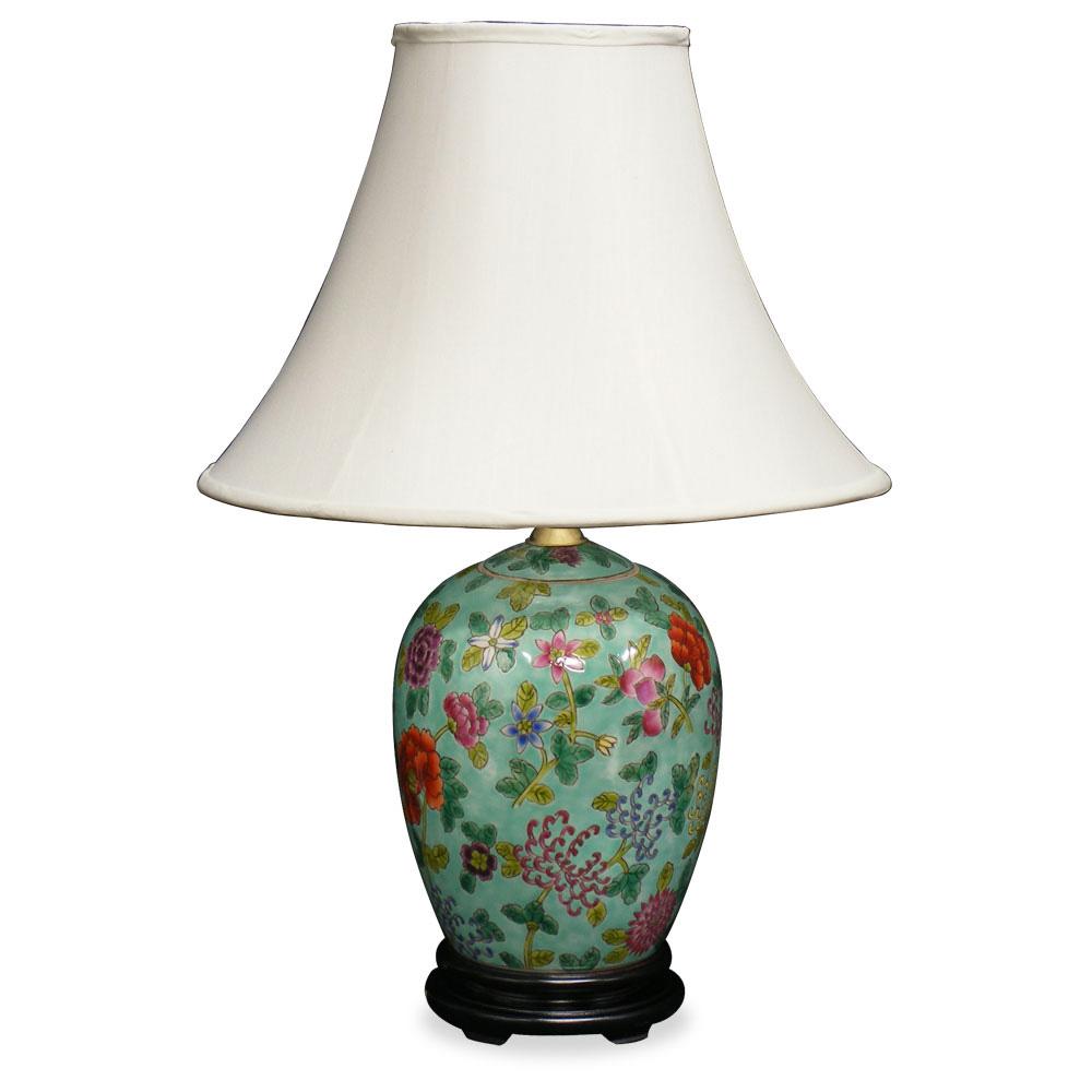 Silk Lamp Shades : Porcelain lamp w silk shade