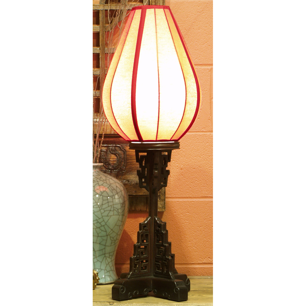 Elmwood Imperial Asian Table Lantern with Red Shade