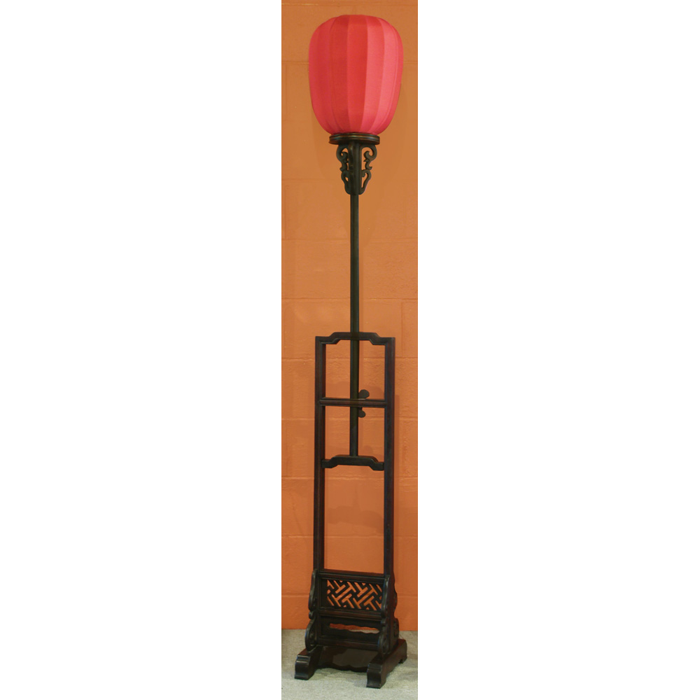 Elmwood Tall Imperial Asian Lantern with Red Shade