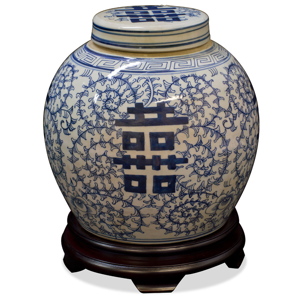 Porcelain Blue and White Qing Double Happiness Jar
