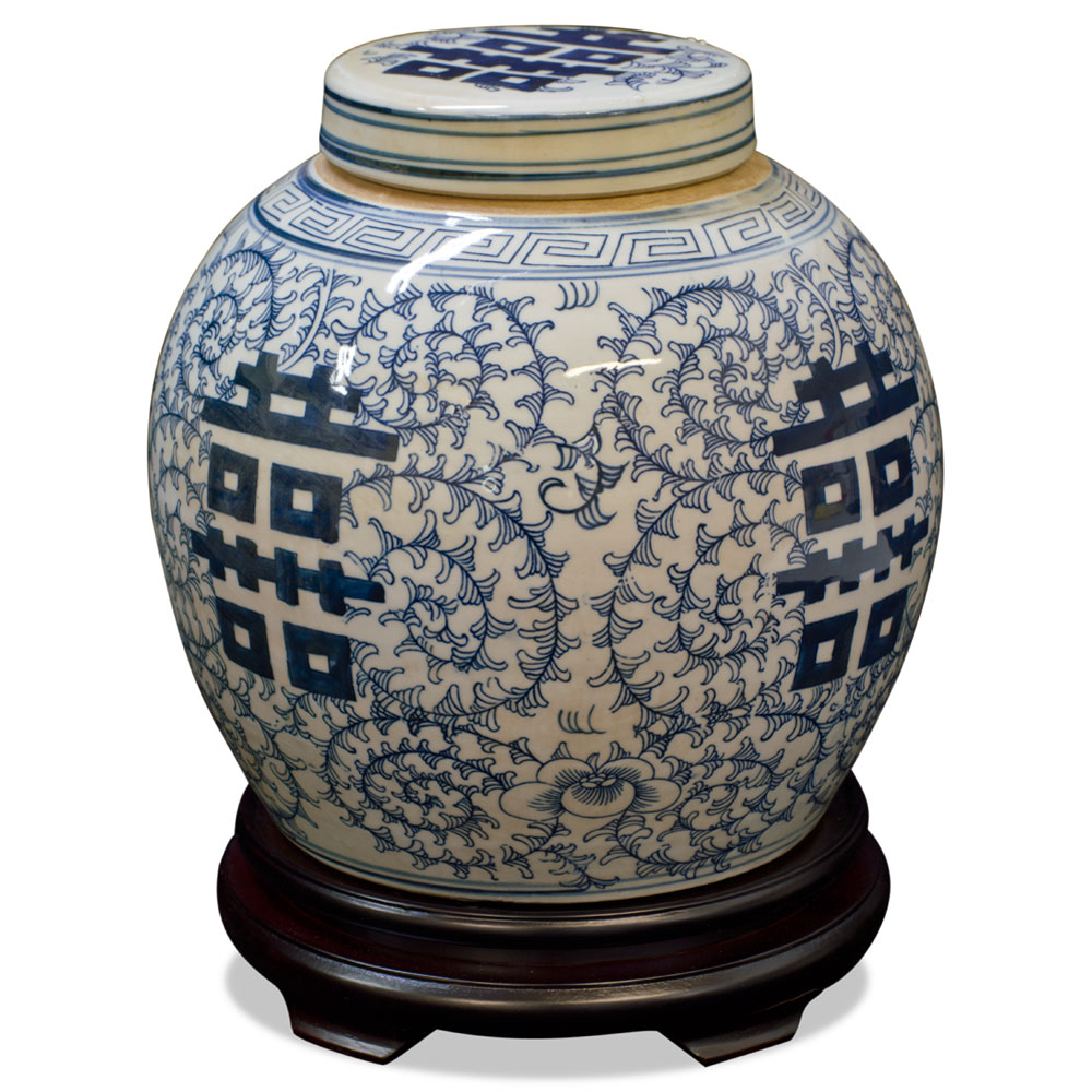 Blue and White Porcelain Chinese Double Happiness Jar