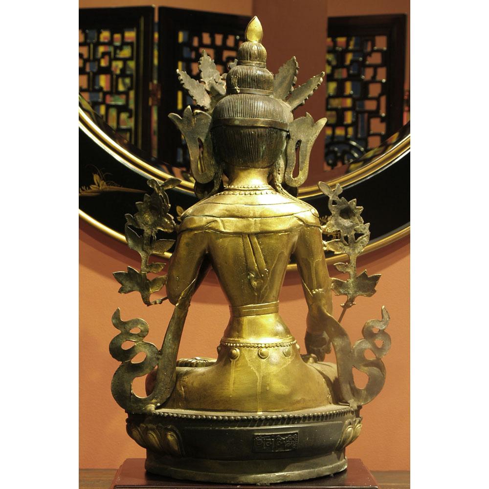 Bronze Tibetan Buddha Sitting in Abhaya Mudra