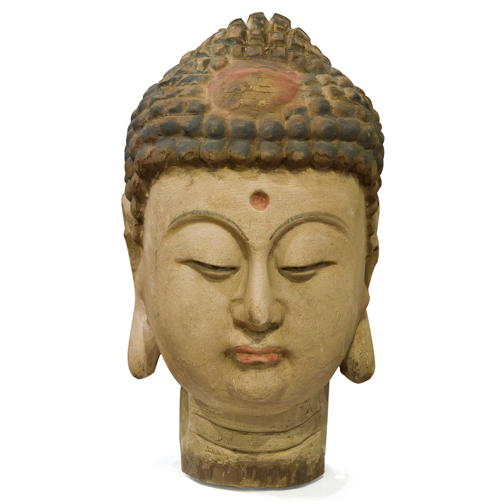 Hand-Carved Wooden Buddha Head