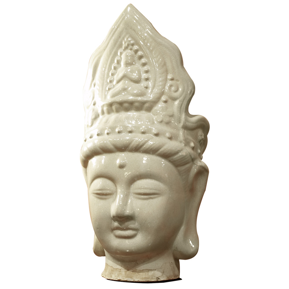 Ceramic Guanyin Head Wearing Crown