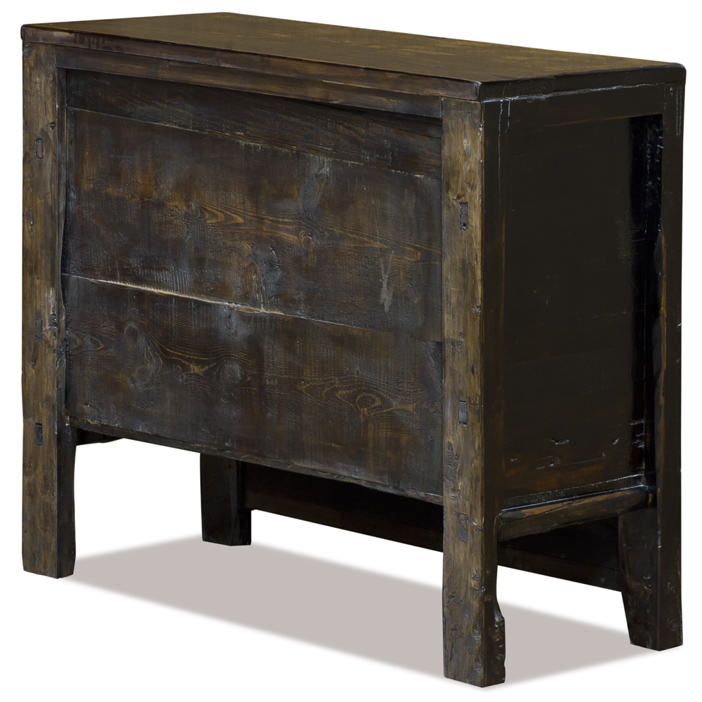 Elmwood Distressed Dark Red Mongolian Cabinet