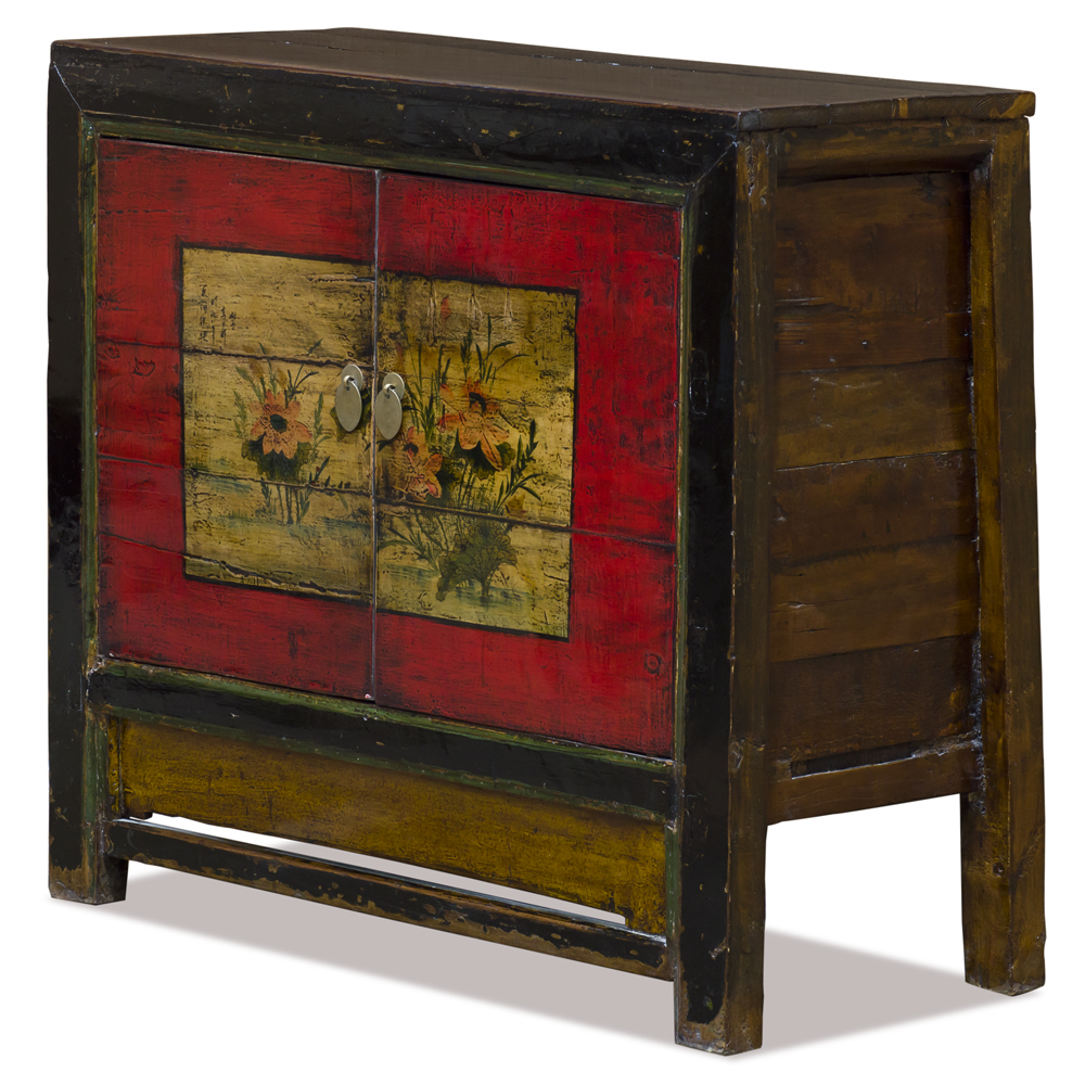 Elmwood Red Lotus Flower Mongolian Cabinet