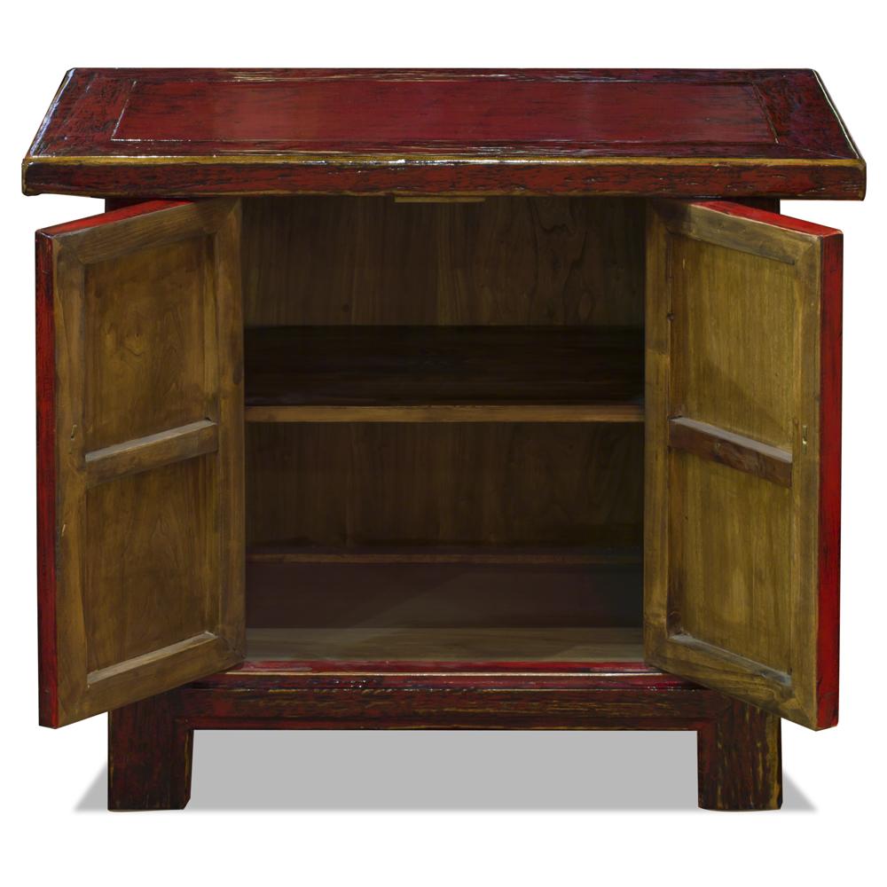 Distressed Red Elmwood Chinese Mandarin Cabinet