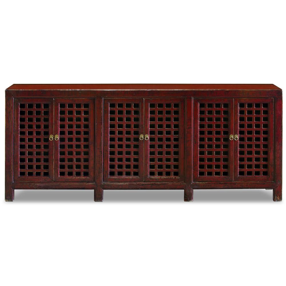 Distressed Red Elmwood Chinese Mandarin Sideboard