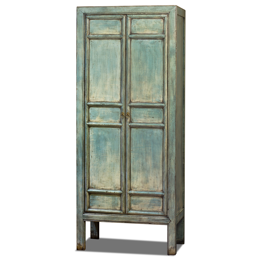 Distressed Light Blue Elmwood Chinese Mandarin Armoire