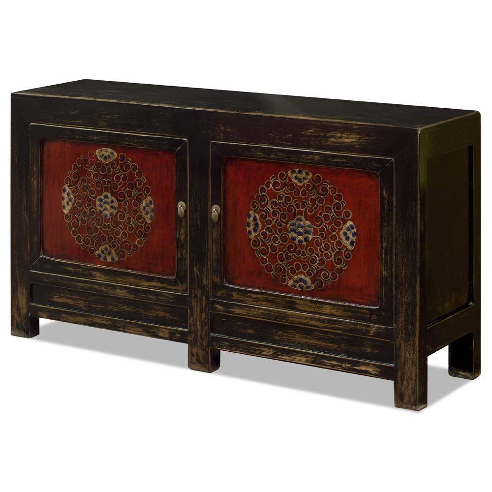 Dark Carmine Elmwood Tibetan Cabinet