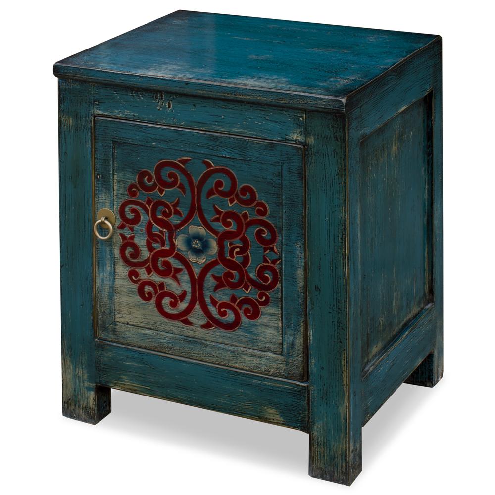 Distressed Indigo Blue Elmwood Tibetan Cabinet