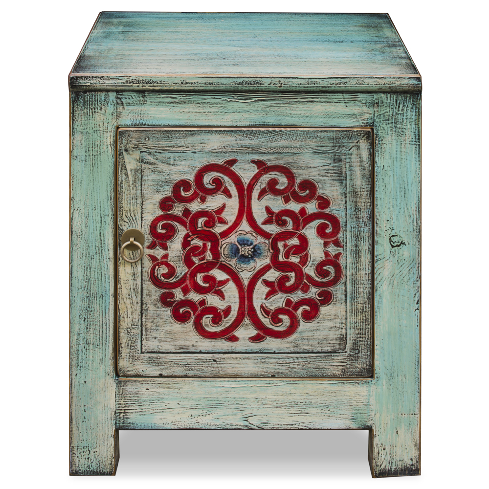Distressed Light Turquoise Blue Elmwood Tibetan Cabinet