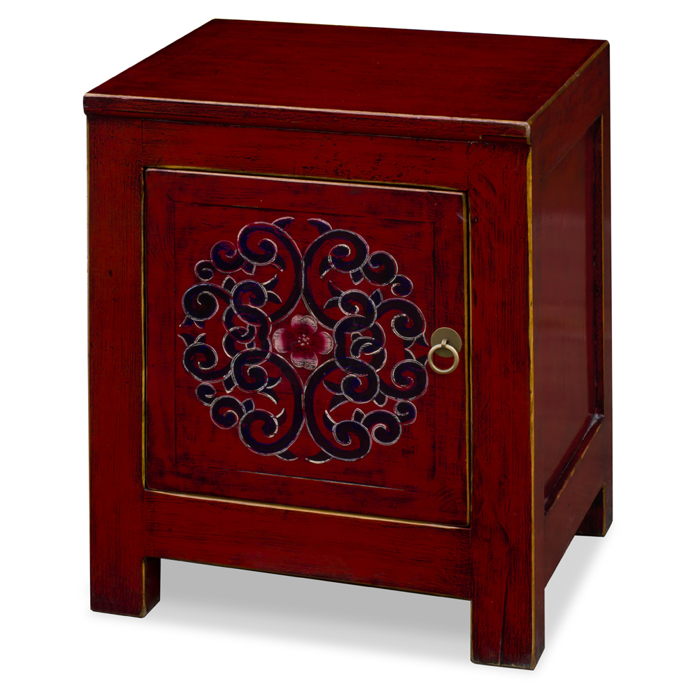Distressed Dark Red Elmwood Tibetan Cabinet