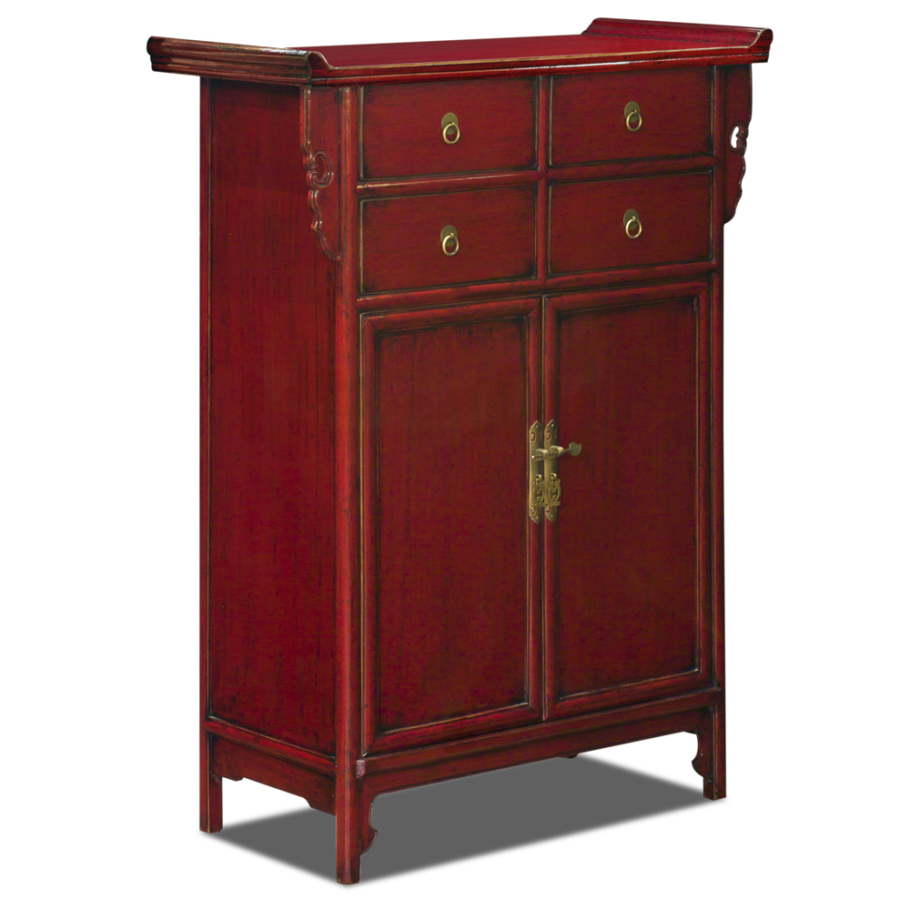 Distressed Red Elmwood Oriental Altar Style Cabinet