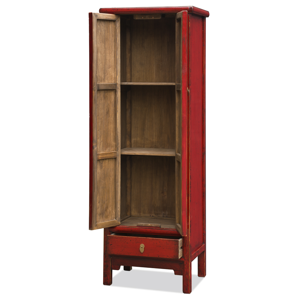 Distressed Red Elmwood Chinese Ming Armoire